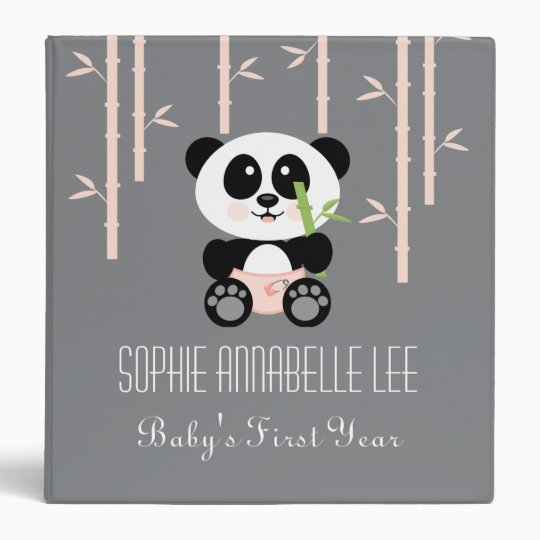 Pink Bamboo Panda in Diapers Baby Photo Album 3 Ring Binder
