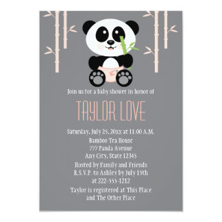 Pink Bamboo Panda in Diapers Baby Shower 5x7 Paper Invitation Card