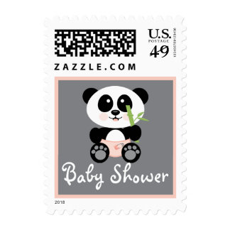 Pink Bamboo Panda in Diapers Baby Shower Postage Stamp