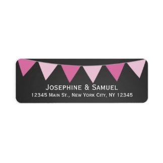 Pink Banner Chalkboard Wedding Address Label