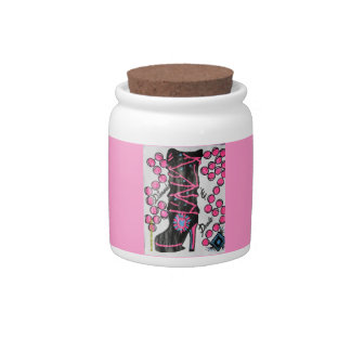 pink banner diamonds & pearls boot candy jar