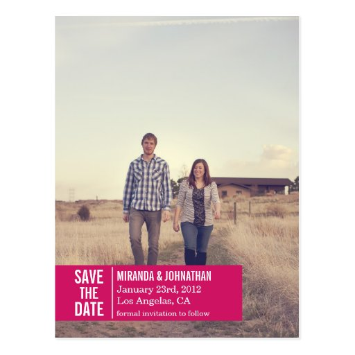Pink Banner Photo Save The Date Post Cards