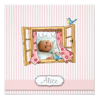 Pink Banner Striped Window-Girl Birth Announcement