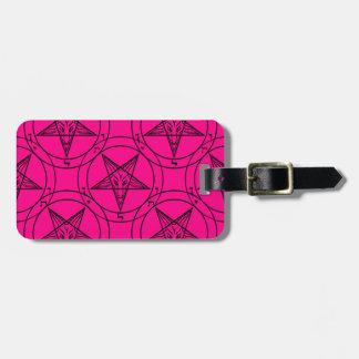 pink baphomet luggage tag
