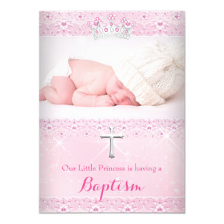 Pink Baptism Baby Photo of Girl Tiara Card