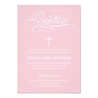 Pink Baptism Invitation | Christening Invitation