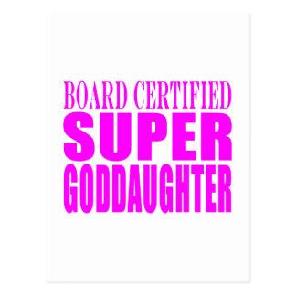 Pink Baptisms Birthdays Super Goddaughter Postcard