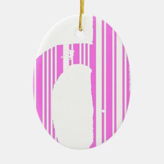 Pink Bar code D Ceramic Ornament