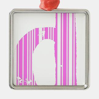 Pink Bar code D Metal Ornament