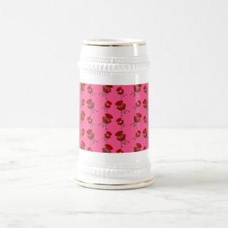 pink barbeque pattern 18 oz beer stein