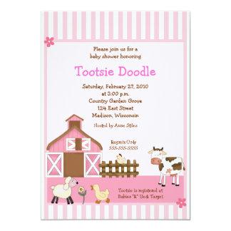 Pink Barn Animal Farm yard Baby Shower Invites