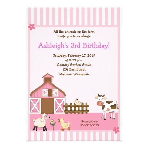 Pink Barn Animal Farm yard Birthday Invitations