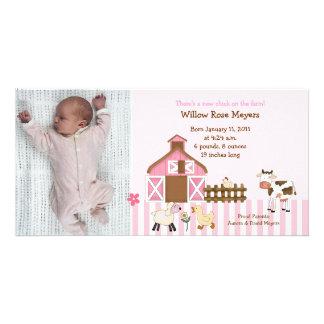 Pink Barn Animals Photo Birthday / Birth Card