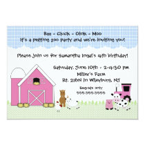 Pink Barn Farm birthday invitation with animals