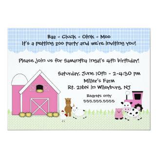 Pink Barn Farm birthday invitation with animals