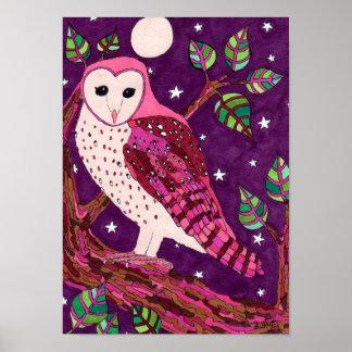 Pink Barn Owl Folk Art Poster
