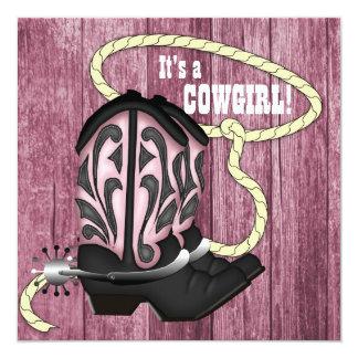 Pink Barn Wood Cowgirl Baby Shower Custom Invitation