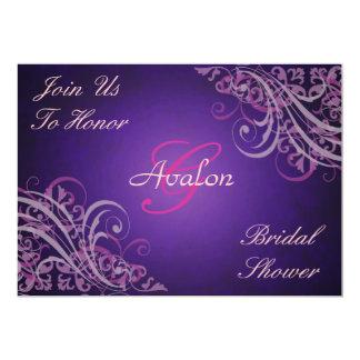 Pink Baroque Swirls Bridal Shower Purple 5x7 Paper Invitation Card
