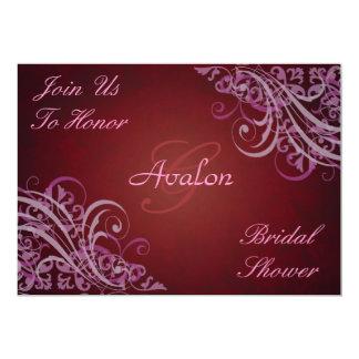 Pink Baroque Swirls Bridal Shower Red Invitation