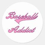 Pink Baseball Addict Round Sticker