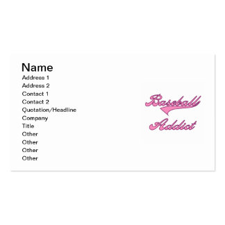 Pink Baseball Addict T-shirts and Gifts Business Card
