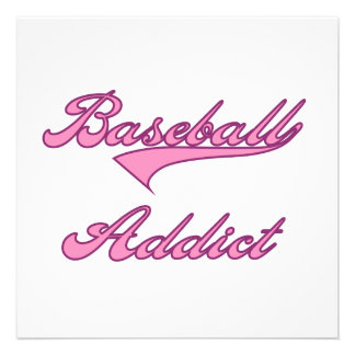 Pink Baseball Addict T-shirts and Gifts Custom Announcements