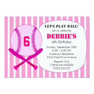 Pink Baseball Kid's Birthday Party for Girls Card