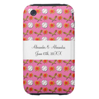 Pink baseball wedding favors tough iPhone 3 cover
