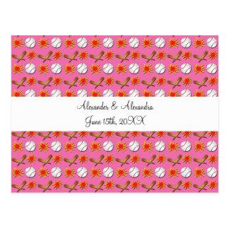 Pink baseball wedding favors postcards