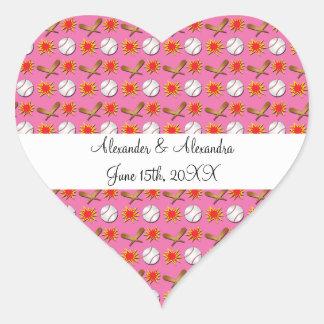 Pink baseball wedding favors sticker