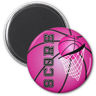Pink Basketball 2 Inch Round Magnet