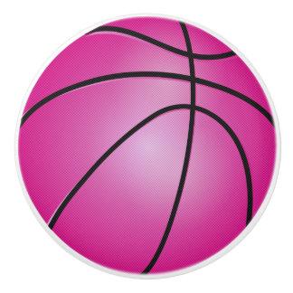 Pink Basketball Ceramic Knob