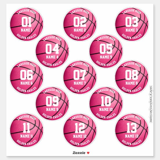 pink basketball custom 3 inch sports stickers