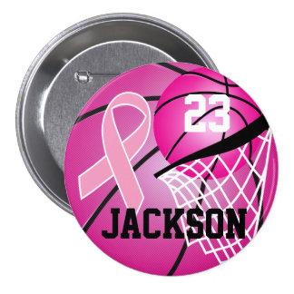 Pink Basketball Design Cancer Awareness Supporter Pinback Button