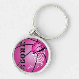 Pink Basketball | DIY Name Silver-Colored Round Keychain