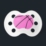 """Pink Basketball Pacifier<br><div class=""""desc"""">Custom Pink Basketball Gifts: Create your own personalized Pink Basketball by typing any numbers or letters into the text box. These are great for any basketball player,  coach or fan,  especially when the basketball team is hosting its Breast Cancer Awareness game.</div>"""