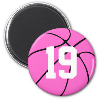 Pink Basketball Round Fridge Magnet