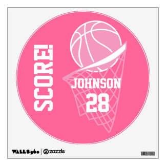 Pink Basketball Score Wall Decal