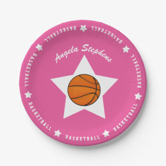 Pink Basketball Star Name Paper Plate