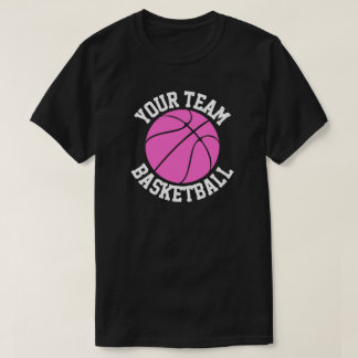 Pink Basketball Team, Player & Jersey Number Tees