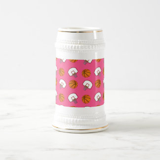Pink basketballs and nets pattern 18 oz beer stein