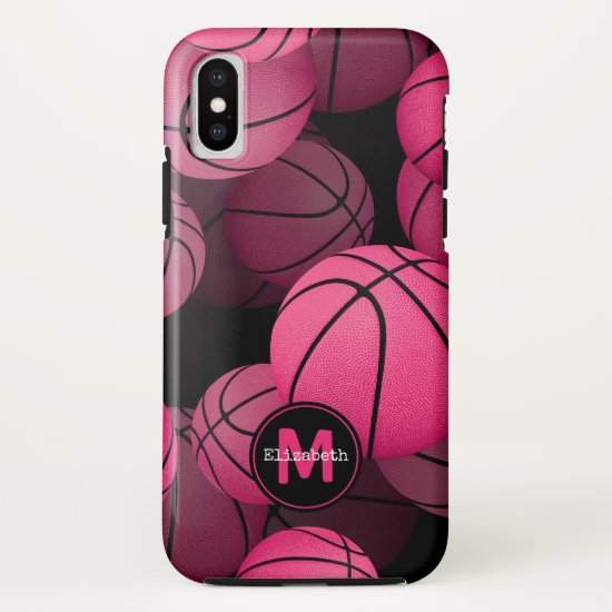 pink basketballs girls' personalized iPhone x case