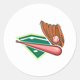 Pink bat & ball with glove classic round sticker