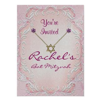 Pink Bat Mitzvah Invitations GEMS  TWIRLS Design