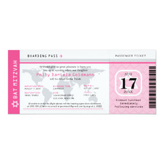 Pink Bat Mitzvah World Traveler Boarding Pass Card