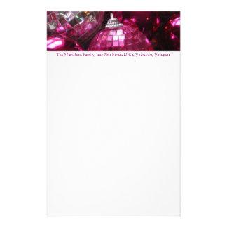 Pink Baubles address header stationery pink text