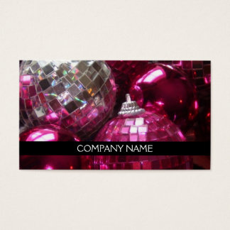 Pink Baubles business card front text black