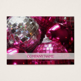 Pink Baubles business card template chubby