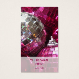 Pink Baubles business card template vertical