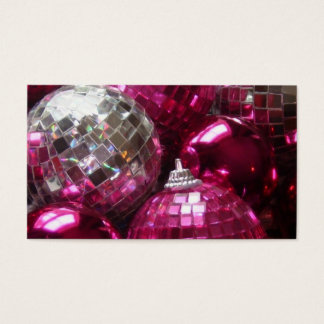 Pink Baubles business card template white